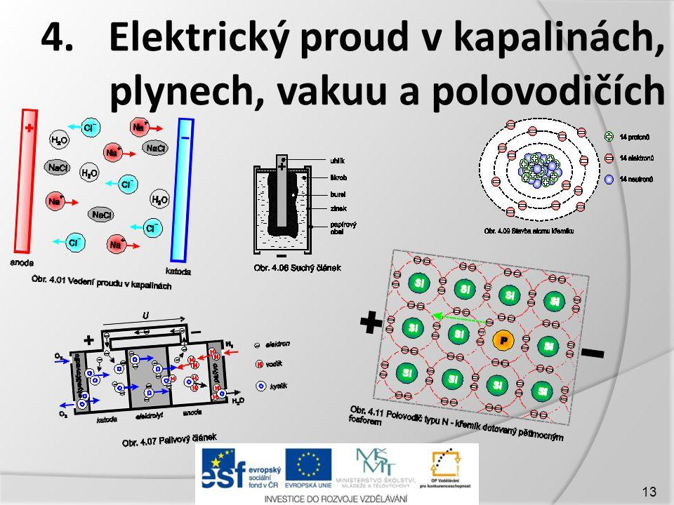 4.Elektrický proud v kapalinách, plynech, vakuu a polovodičích 13