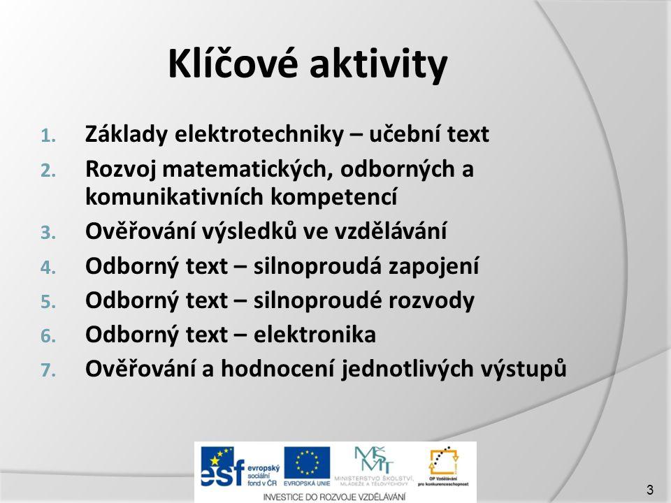 Klíčové aktivity 1.Základy elektrotechniky – učební text 2.