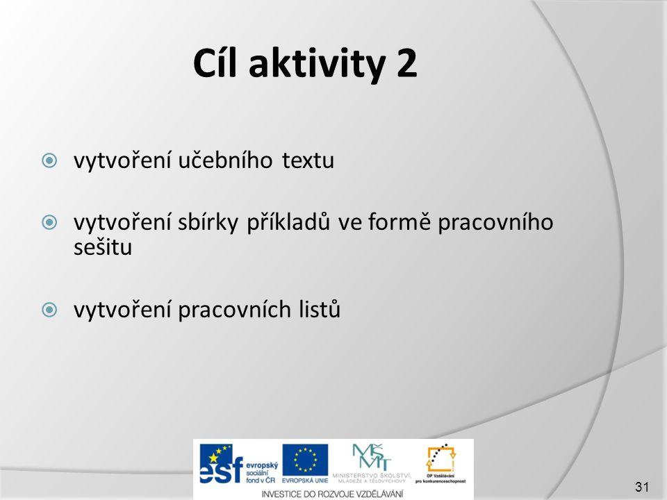 Cíl aktivity 2  vytvoření učebního textu  vytvoření sbírky příkladů ve formě pracovního sešitu  vytvoření pracovních listů 31