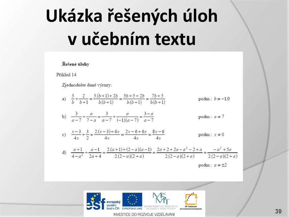 Ukázka řešených úloh v učebním textu 39