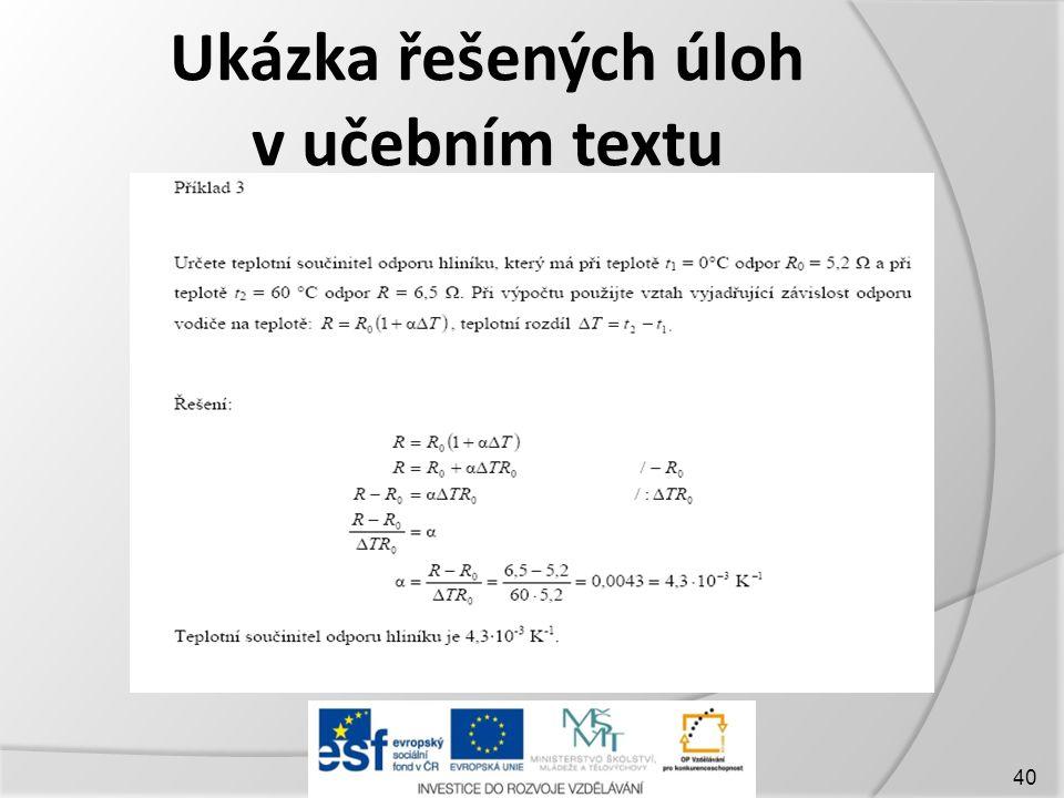 Ukázka řešených úloh v učebním textu 40