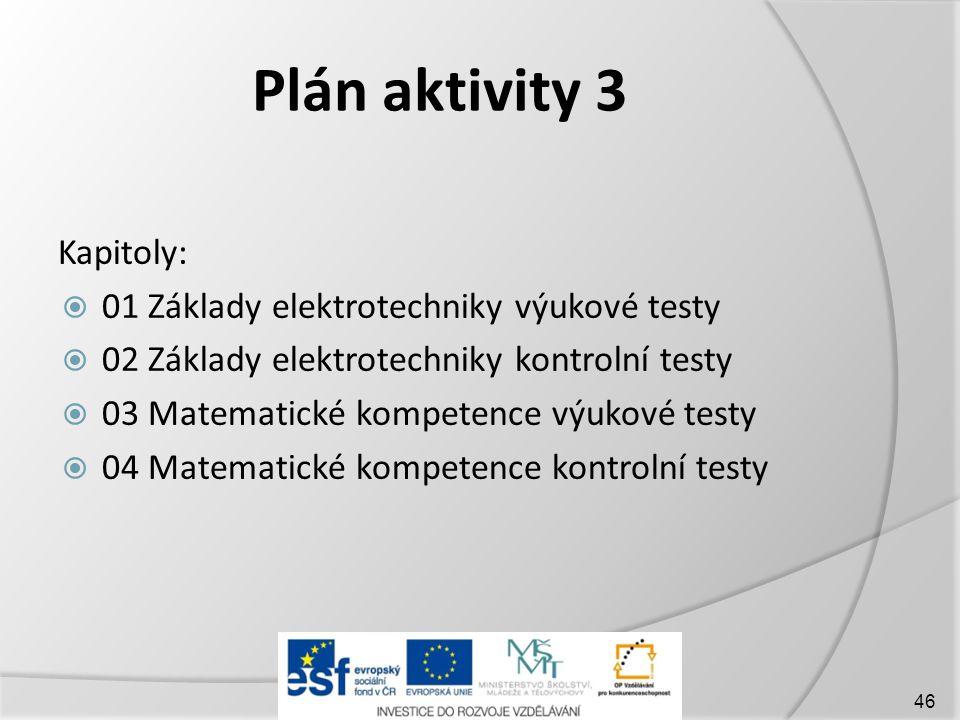 Plán aktivity 3 Kapitoly:  01 Základy elektrotechniky výukové testy  02 Základy elektrotechniky kontrolní testy  03 Matematické kompetence výukové testy  04 Matematické kompetence kontrolní testy 46