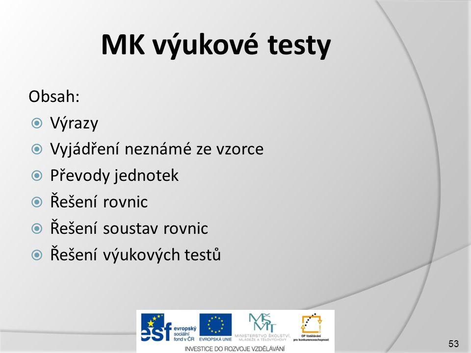MK výukové testy Obsah:  Výrazy  Vyjádření neznámé ze vzorce  Převody jednotek  Řešení rovnic  Řešení soustav rovnic  Řešení výukových testů 53