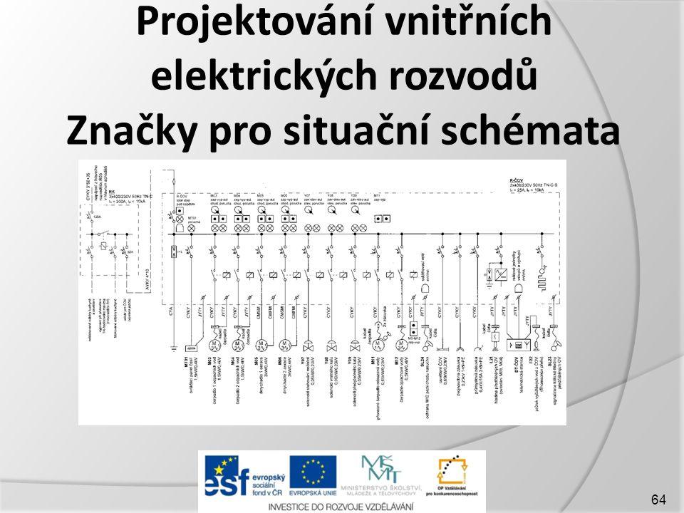 Projektování vnitřních elektrických rozvodů Značky pro situační schémata 64