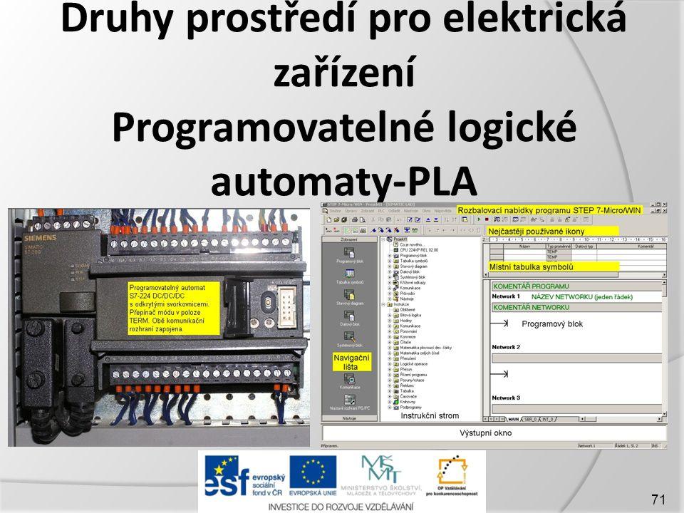 Druhy prostředí pro elektrická zařízení Programovatelné logické automaty-PLA 71