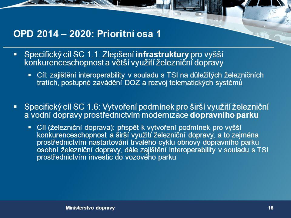 OPD 2014 – 2020: Prioritní osa 1  Specifický cíl SC 1.1: Zlepšení infrastruktury pro vyšší konkurenceschopnost a větší využití železniční dopravy  C