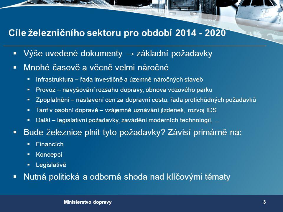 Cíle železničního sektoru pro období 2014 - 2020  Výše uvedené dokumenty → základní požadavky  Mnohé časově a věcně velmi náročné  Infrastruktura –