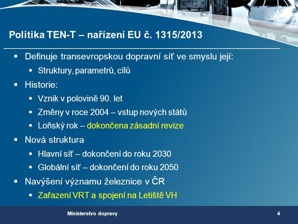 Politika TEN-T – nařízení EU č. 1315/2013  Definuje transevropskou dopravní síť ve smyslu její:  Struktury, parametrů, cílů  Historie:  Vznik v po