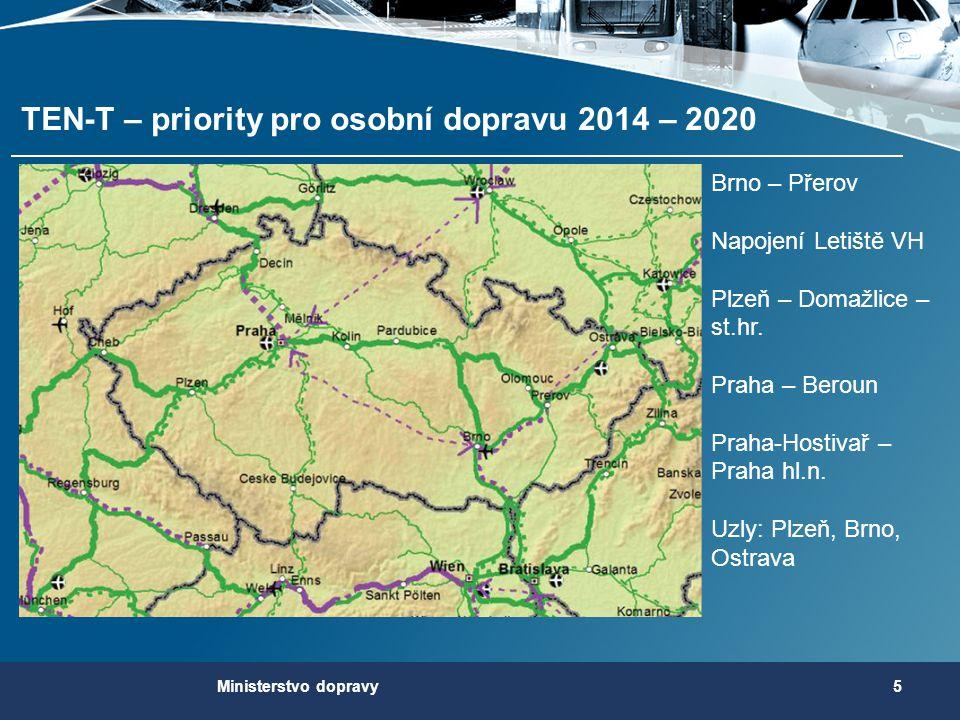 TEN-T – priority pro osobní dopravu 2014 – 2020 5Ministerstvo dopravy Brno – Přerov Napojení Letiště VH Plzeň – Domažlice – st.hr. Praha – Beroun Prah