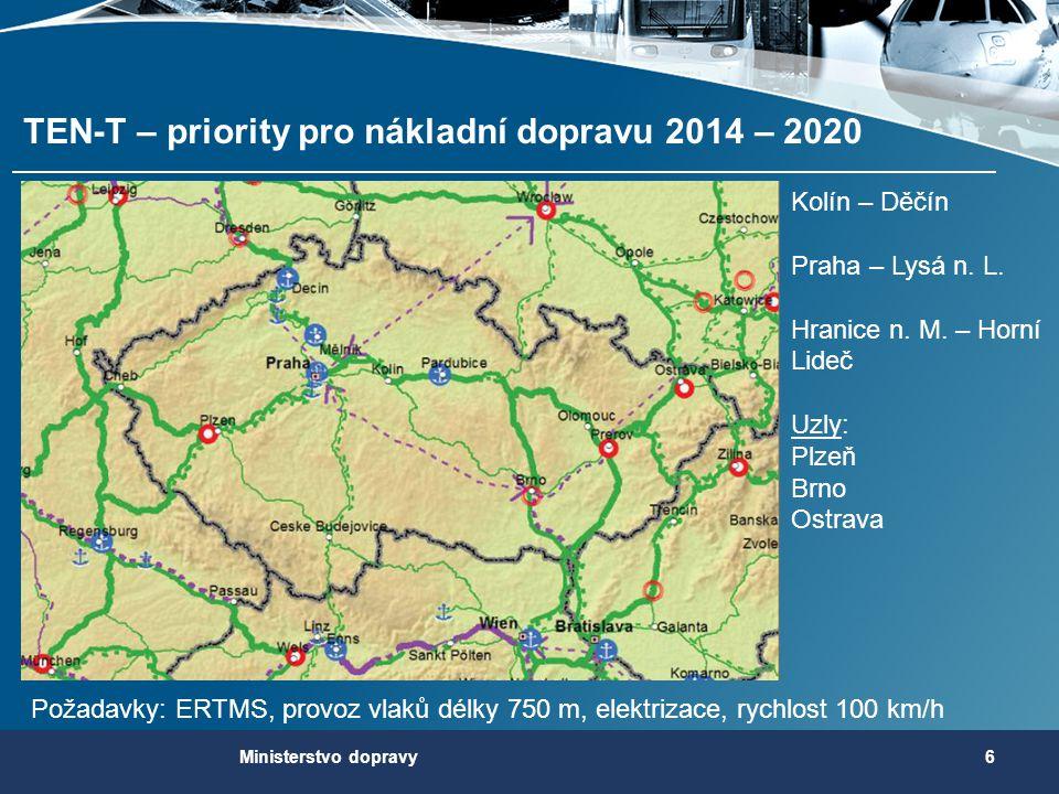 TEN-T – priority pro nákladní dopravu 2014 – 2020 6Ministerstvo dopravy Požadavky: ERTMS, provoz vlaků délky 750 m, elektrizace, rychlost 100 km/h Kol