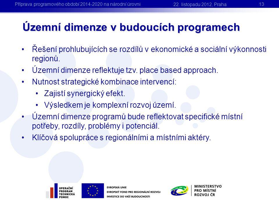 Územní dimenze v budoucích programech 13 •Řešení prohlubujících se rozdílů v ekonomické a sociální výkonnosti regionů. •Územní dimenze reflektuje tzv.