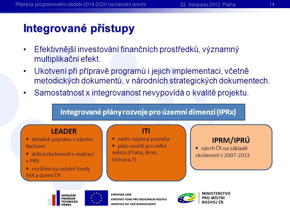 Integrované přístupy 14 •Efektivnější investování finančních prostředků, významný multiplikační efekt. •Ukotvení při přípravě programů i jejich implem