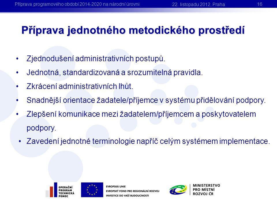 Příprava jednotného metodického prostředí •Zjednodušení administrativních postupů. •Jednotná, standardizovaná a srozumitelná pravidla. •Zkrácení admin