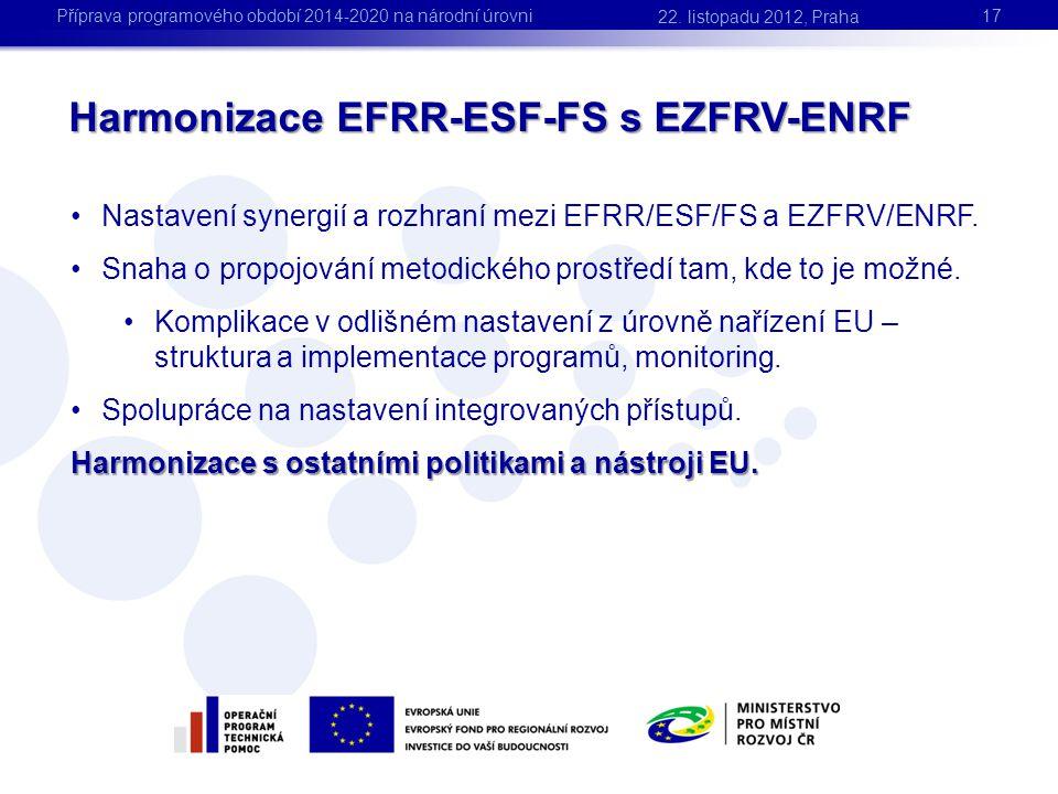 Harmonizace EFRR-ESF-FS s EZFRV-ENRF •Nastavení synergií a rozhraní mezi EFRR/ESF/FS a EZFRV/ENRF. •Snaha o propojování metodického prostředí tam, kde