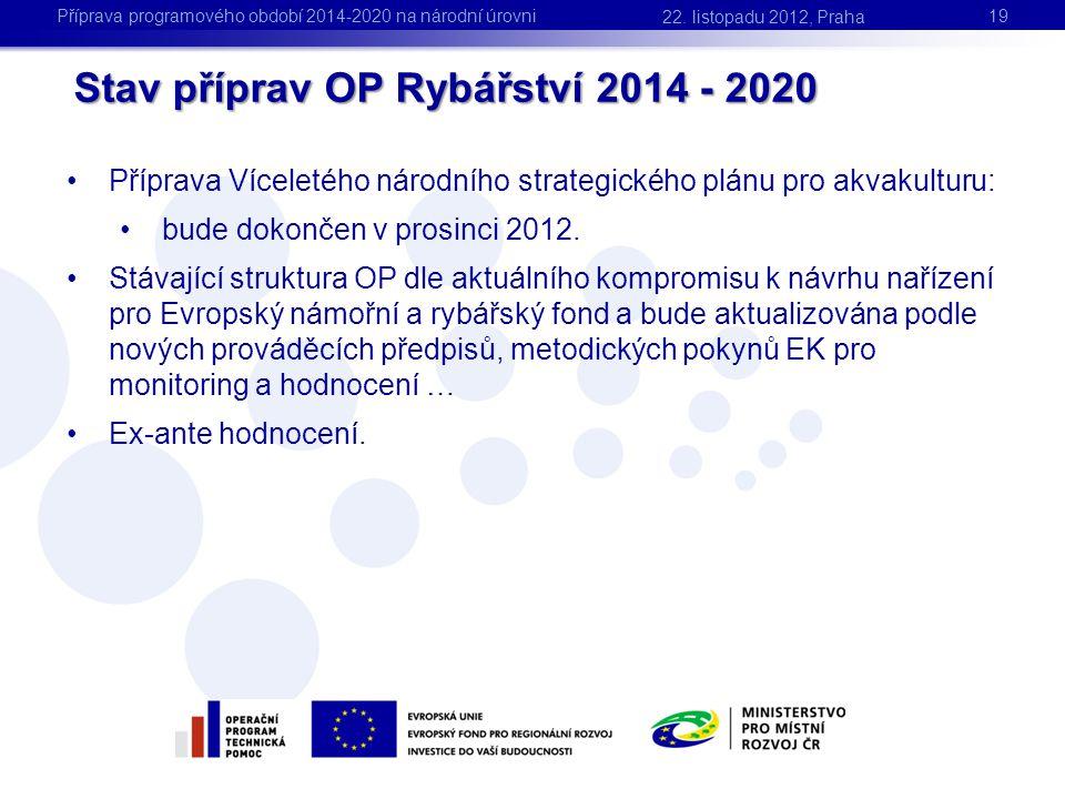 Stav příprav OP Rybářství 2014 - 2020 •Příprava Víceletého národního strategického plánu pro akvakulturu: •bude dokončen v prosinci 2012. •Stávající s