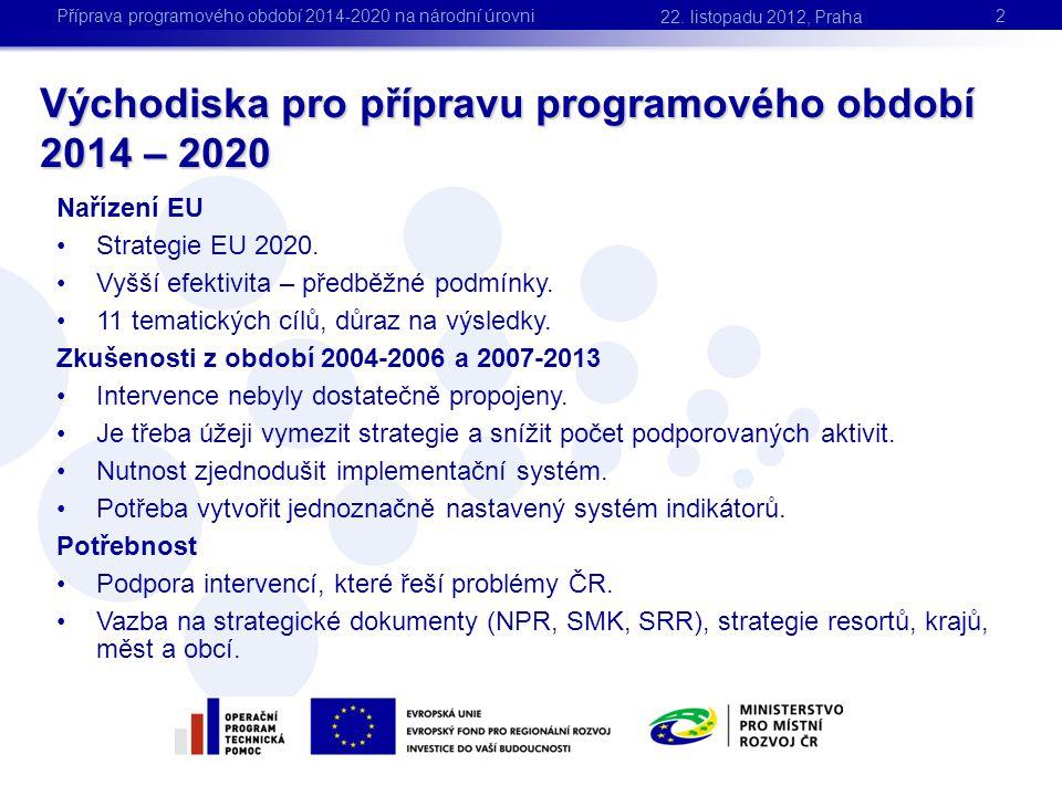 Východiska pro přípravu programového období 2014 – 2020 2 Nařízení EU •Strategie EU 2020. •Vyšší efektivita – předběžné podmínky. •11 tematických cílů