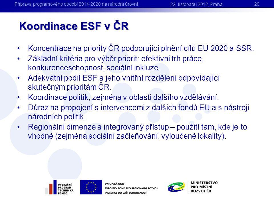 Koordinace ESF v ČR •Koncentrace na priority ČR podporující plnění cílů EU 2020 a SSR. •Základní kritéria pro výběr priorit: efektivní trh práce, konk