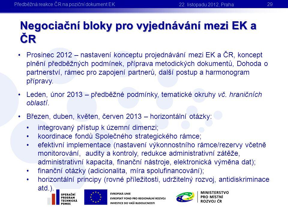 Negociační bloky pro vyjednávání mezi EK a ČR 29 22. listopadu 2012, Praha Předběžná reakce ČR na poziční dokument EK •Prosinec 2012 – nastavení konce