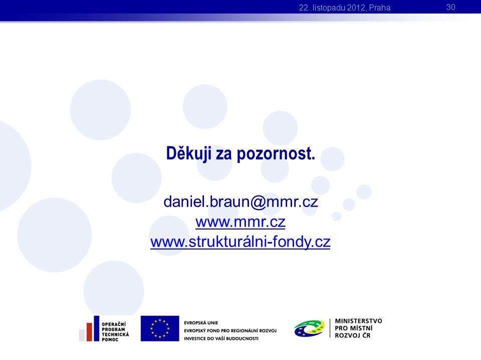 Děkuji za pozornost. daniel.braun@mmr.cz www.mmr.cz www.strukturálni-fondy.cz 30 22. listopadu 2012, Praha