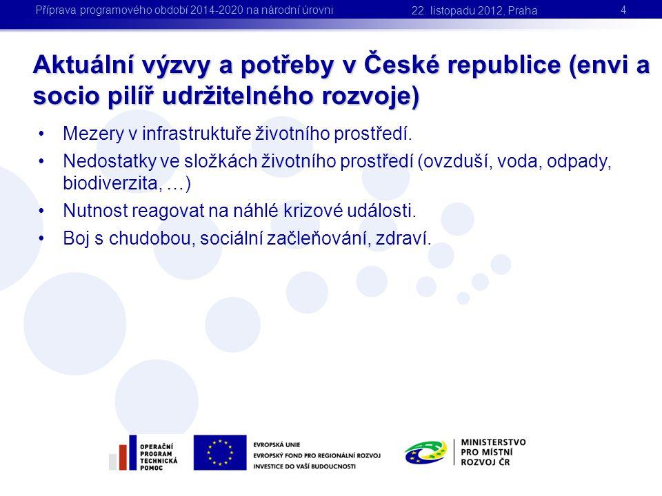 Aktuální výzvy a potřeby v České republice (envi a socio pilíř udržitelného rozvoje) 4 •Mezery v infrastruktuře životního prostředí. •Nedostatky ve sl