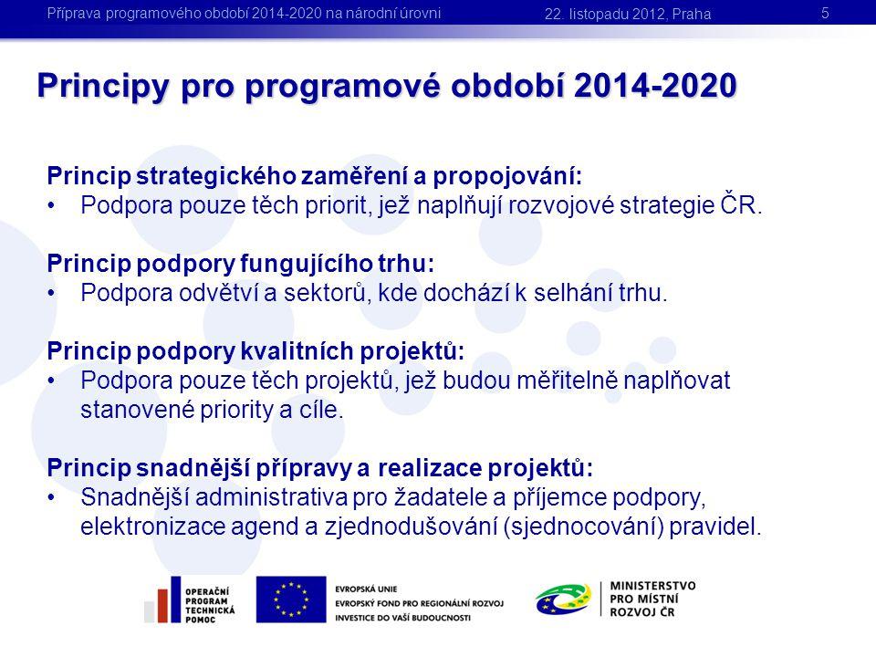 Princip strategického zaměření a propojování: •Podpora pouze těch priorit, jež naplňují rozvojové strategie ČR. Princip podpory fungujícího trhu: •Pod
