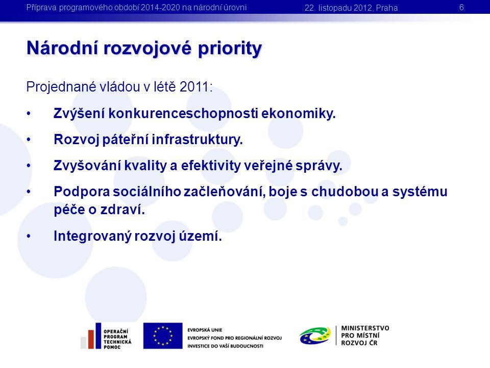 Projednané vládou v létě 2011: •Zvýšení konkurenceschopnosti ekonomiky. •Rozvoj páteřní infrastruktury. •Zvyšování kvality a efektivity veřejné správy