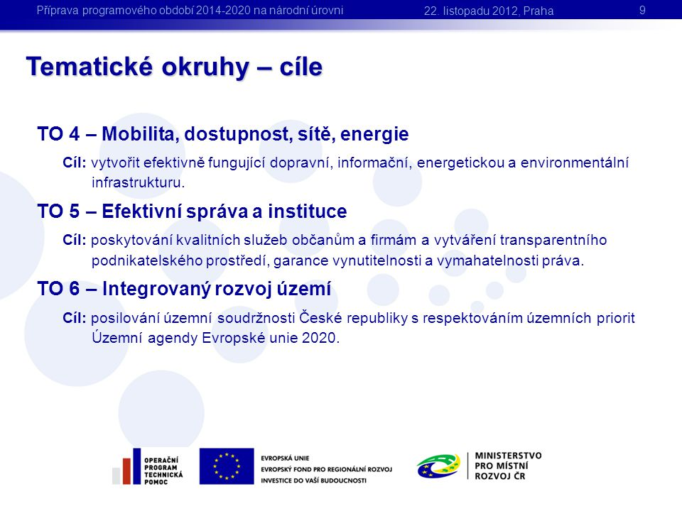 Tematické okruhy – cíle 9 TO 4 – Mobilita, dostupnost, sítě, energie Cíl: vytvořit efektivně fungující dopravní, informační, energetickou a environmen
