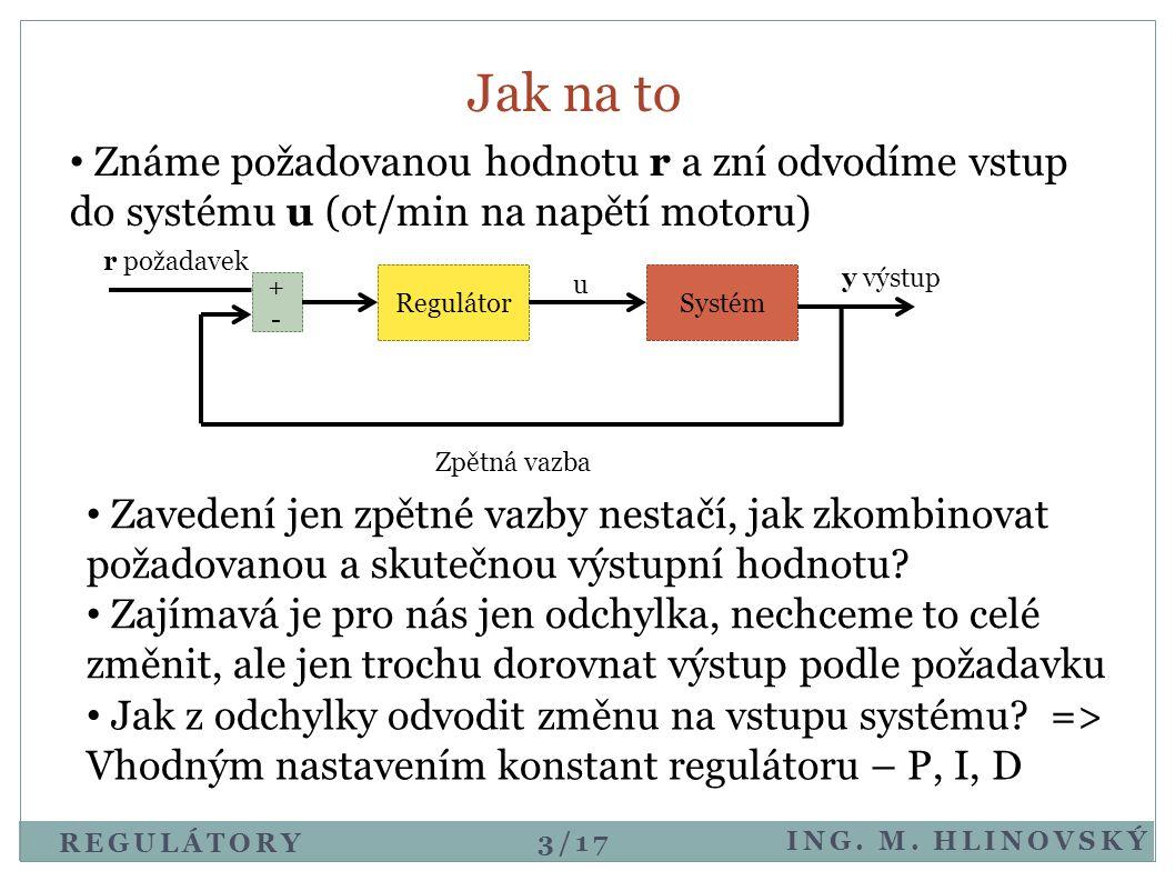 REGULÁTORY ING. M. HLINOVSKÝ Jak na to SystémRegulátor u • Známe požadovanou hodnotu r a zní odvodíme vstup do systému u (ot/min na napětí motoru) r p