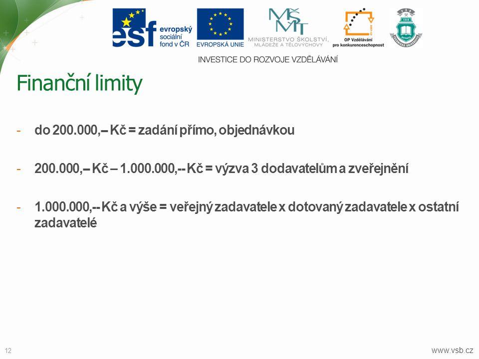 www.vsb.cz 12 -do 200.000,-- Kč = zadání přímo, objednávkou -200.000,-- Kč – 1.000.000,-- Kč = výzva 3 dodavatelům a zveřejnění -1.000.000,-- Kč a výš
