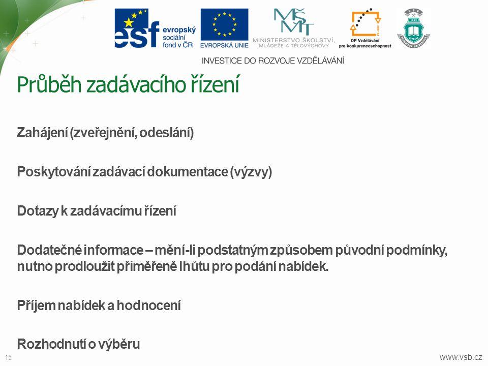 www.vsb.cz 15 Zahájení (zveřejnění, odeslání) Poskytování zadávací dokumentace (výzvy) Dotazy k zadávacímu řízení Dodatečné informace – mění-li podsta