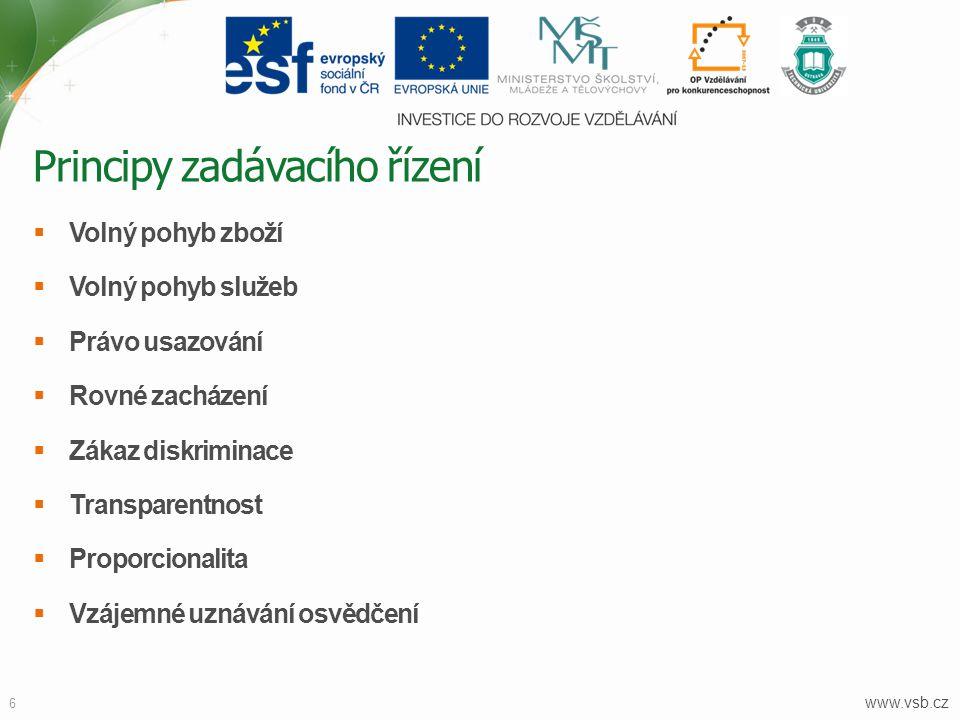 www.vsb.cz 6  Volný pohyb zboží  Volný pohyb služeb  Právo usazování  Rovné zacházení  Zákaz diskriminace  Transparentnost  Proporcionalita  V