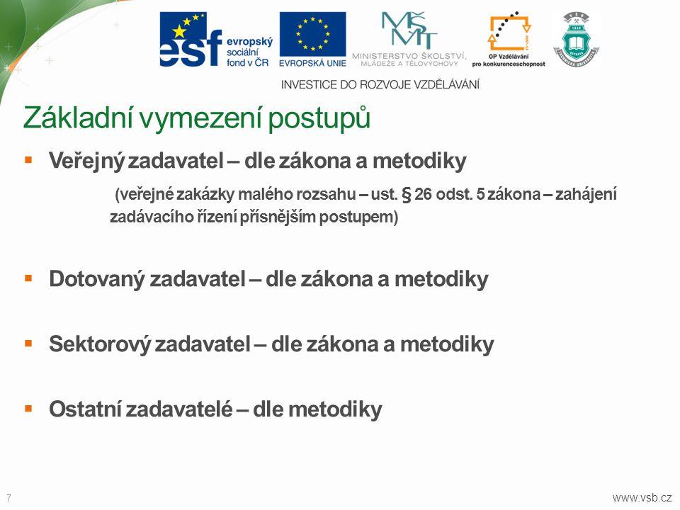 www.vsb.cz 7  Veřejný zadavatel – dle zákona a metodiky (veřejné zakázky malého rozsahu – ust. § 26 odst. 5 zákona – zahájení zadávacího řízení přísn