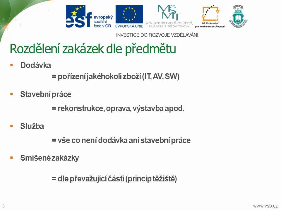 www.vsb.cz 8  Dodávka = pořízení jakéhokoli zboží (IT, AV, SW)  Stavební práce = rekonstrukce, oprava, výstavba apod.  Služba = vše co není dodávka