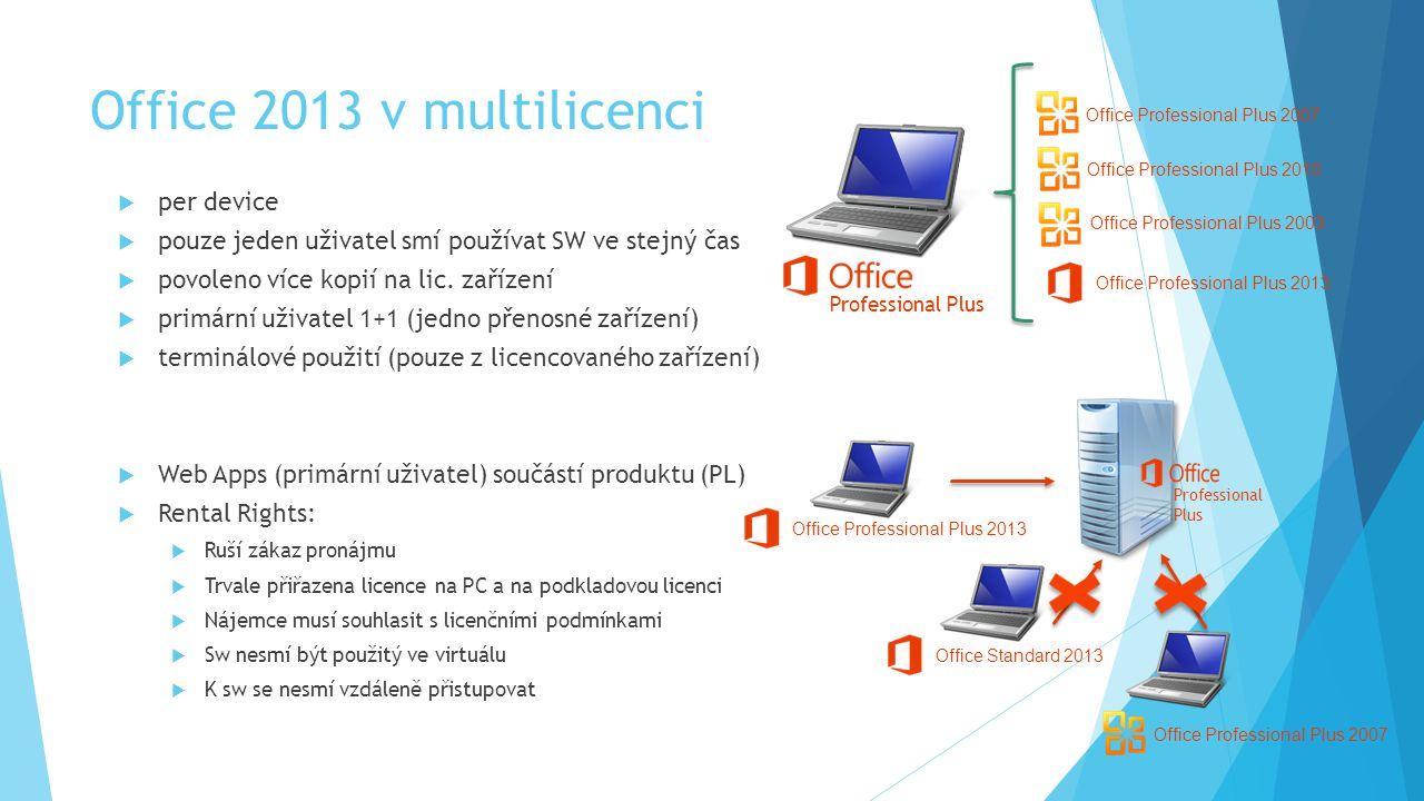 Office 2013 v multilicenci  per device  pouze jeden uživatel smí používat SW ve stejný čas  povoleno více kopií na lic.