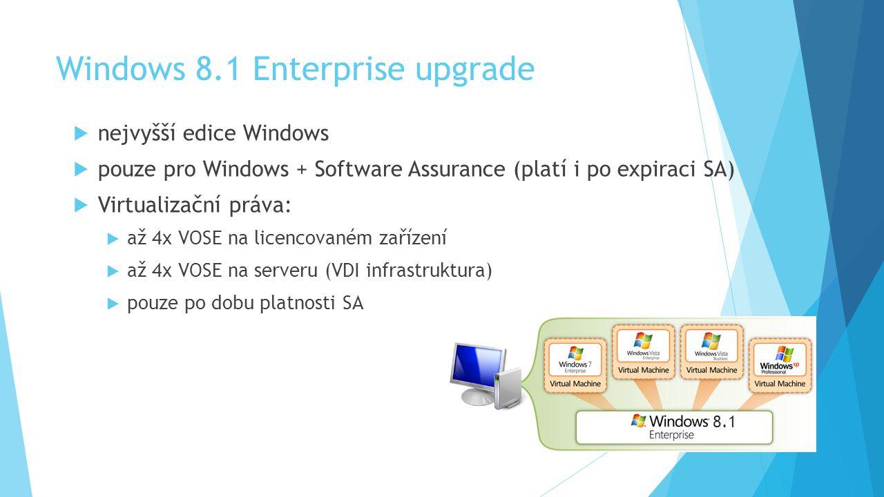 Windows 8.1 Enterprise upgrade  nejvyšší edice Windows  pouze pro Windows + Software Assurance (platí i po expiraci SA)  Virtualizační práva:  až 4x VOSE na licencovaném zařízení  až 4x VOSE na serveru (VDI infrastruktura)  pouze po dobu platnosti SA 8.1
