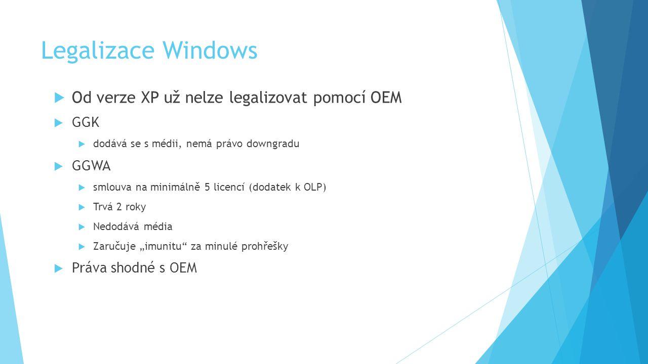 """Legalizace Windows  Od verze XP už nelze legalizovat pomocí OEM  GGK  dodává se s médii, nemá právo downgradu  GGWA  smlouva na minimálně 5 licencí (dodatek k OLP)  Trvá 2 roky  Nedodává média  Zaručuje """"imunitu za minulé prohřešky  Práva shodné s OEM"""