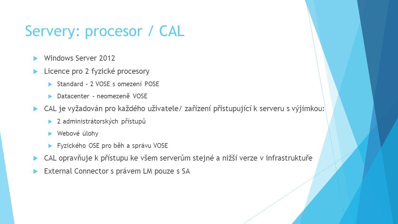 Servery: procesor / CAL  Windows Server 2012  Licence pro 2 fyzické procesory  Standard – 2 VOSE s omezení POSE  Datacenter – neomezeně VOSE  CAL je vyžadován pro každého uživatele/ zařízení přistupující k serveru s výjimkou:  2 administrátorských přístupů  Webové úlohy  Fyzického OSE pro běh a správu VOSE  CAL opravňuje k přístupu ke všem serverům stejné a nižší verze v infrastruktuře  External Connector s právem LM pouze s SA