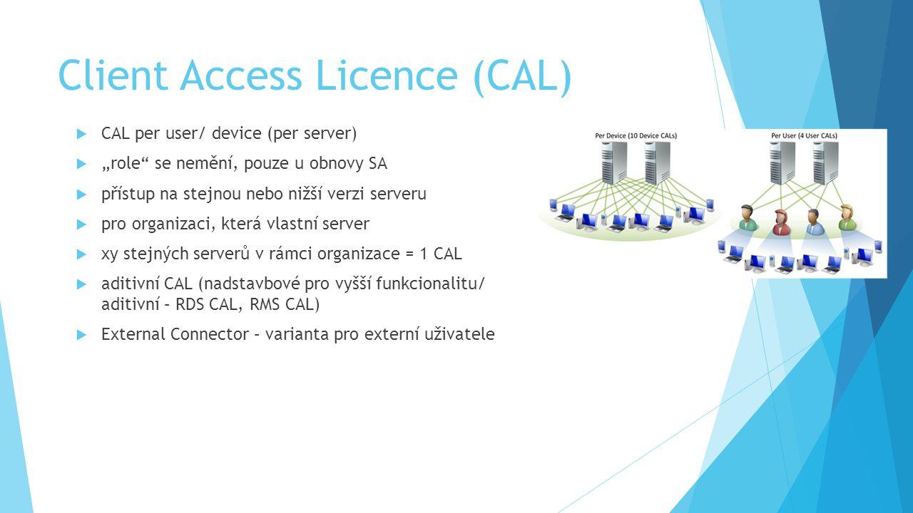 """Client Access Licence (CAL)  CAL per user/ device (per server)  """"role se nemění, pouze u obnovy SA  přístup na stejnou nebo nižší verzi serveru  pro organizaci, která vlastní server  xy stejných serverů v rámci organizace = 1 CAL  aditivní CAL (nadstavbové pro vyšší funkcionalitu/ aditivní – RDS CAL, RMS CAL)  External Connector – varianta pro externí uživatele"""