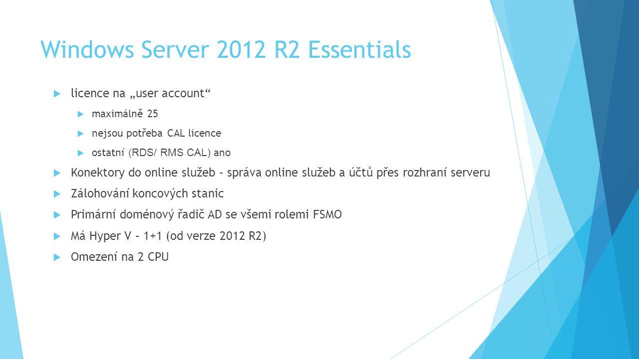 """Windows Server 2012 R2 Essentials  licence na """"user account  maximálně 25  nejsou potřeba CAL licence  ostatní (RDS/ RMS CAL) ano  Konektory do online služeb – správa online služeb a účtů přes rozhraní serveru  Zálohování koncových stanic  Primární doménový řadič AD se všemi rolemi FSMO  Má Hyper V – 1+1 (od verze 2012 R2)  Omezení na 2 CPU"""