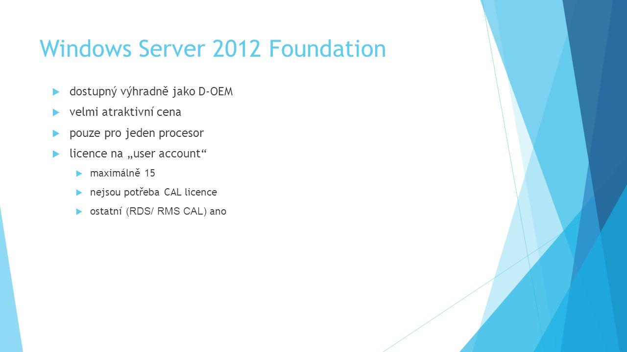 """Windows Server 2012 Foundation  dostupný výhradně jako D-OEM  velmi atraktivní cena  pouze pro jeden procesor  licence na """"user account  maximálně 15  nejsou potřeba CAL licence  ostatní (RDS/ RMS CAL) ano"""