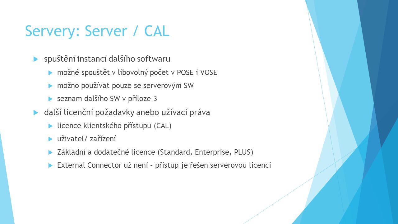 Servery: Server / CAL  spuštění instancí dalšího softwaru  možné spouštět v libovolný počet v POSE i VOSE  možno používat pouze se serverovým SW  seznam dalšího SW v příloze 3  další licenční požadavky anebo užívací práva  licence klientského přístupu (CAL)  uživatel/ zařízení  Základní a dodatečné licence (Standard, Enterprise, PLUS)  External Connector už není – přístup je řešen serverovou licencí