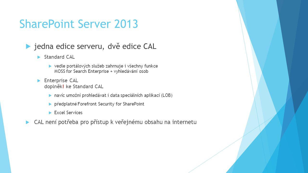 SharePoint Server 2013  jedna edice serveru, dvě edice CAL  Standard CAL  vedle portálových služeb zahrnuje i všechny funkce MOSS for Search Enterprise + vyhledávání osob  Enterprise CAL doplněk.