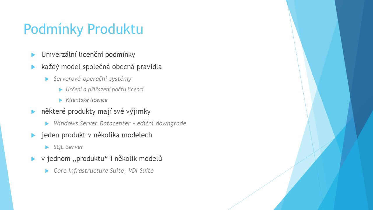 licenční podmínky produktu  v jakém se nachází modelu.