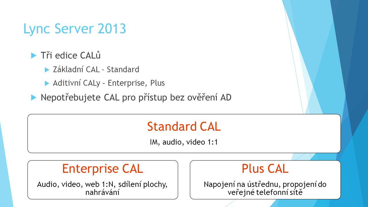 Lync Server 2013  Tři edice CALů  Základní CAL - Standard  Aditivní CALy – Enterprise, Plus  Nepotřebujete CAL pro přístup bez ověření AD Standard CAL IM, audio, video 1:1 Enterprise CAL Audio, video, web 1:N, sdílení plochy, nahrávání Plus CAL Napojení na ústřednu, propojení do veřejné telefonní sítě