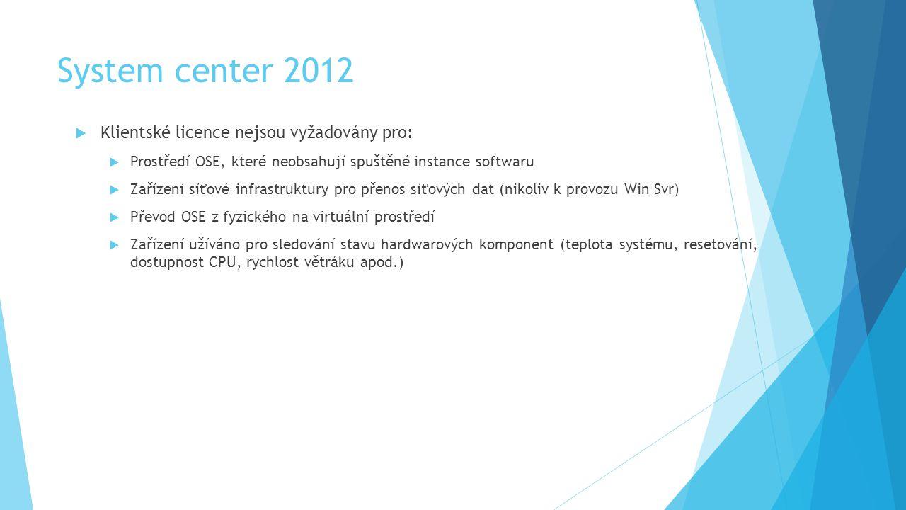 System center 2012  Klientské licence nejsou vyžadovány pro:  Prostředí OSE, které neobsahují spuštěné instance softwaru  Zařízení síťové infrastruktury pro přenos síťových dat (nikoliv k provozu Win Svr)  Převod OSE z fyzického na virtuální prostředí  Zařízení užíváno pro sledování stavu hardwarových komponent (teplota systému, resetování, dostupnost CPU, rychlost větráku apod.)