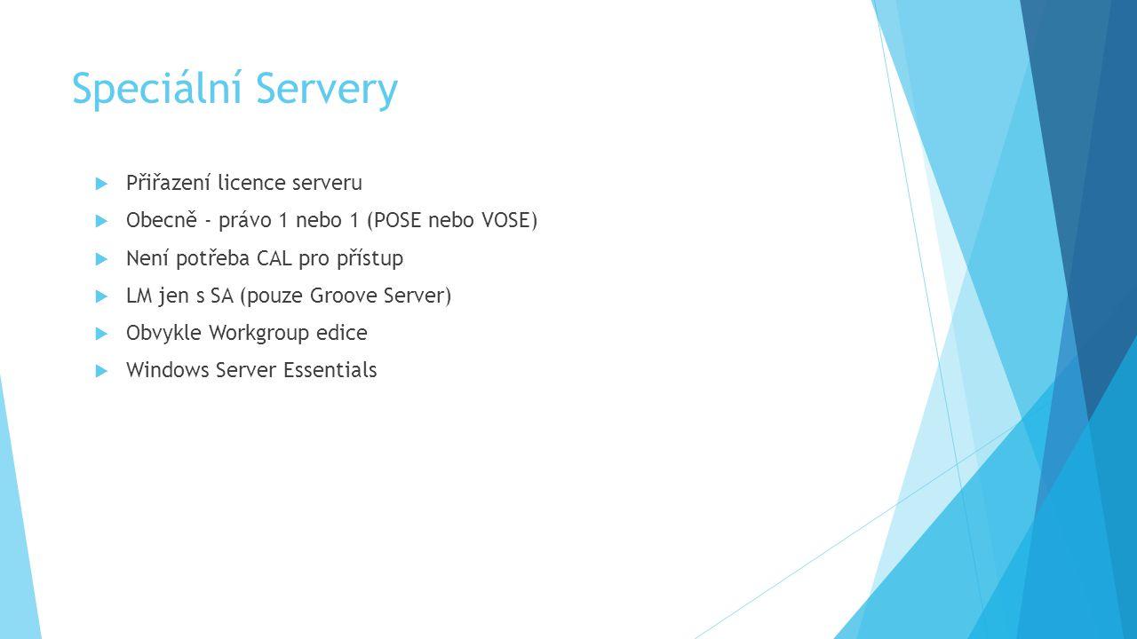 Speciální Servery  Přiřazení licence serveru  Obecně - právo 1 nebo 1 (POSE nebo VOSE)  Není potřeba CAL pro přístup  LM jen s SA (pouze Groove Server)  Obvykle Workgroup edice  Windows Server Essentials