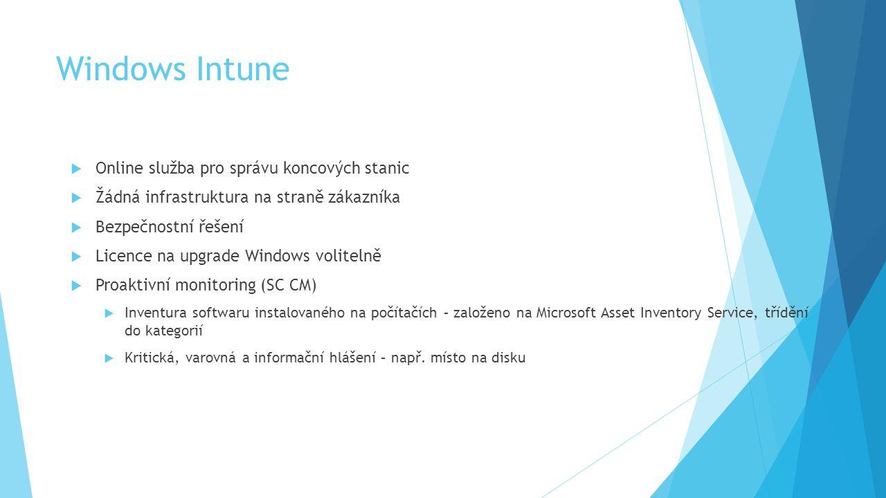 Windows Intune  Online služba pro správu koncových stanic  Žádná infrastruktura na straně zákazníka  Bezpečnostní řešení  Licence na upgrade Windows volitelně  Proaktivní monitoring (SC CM)  Inventura softwaru instalovaného na počítačích – založeno na Microsoft Asset Inventory Service, třídění do kategorií  Kritická, varovná a informační hlášení – např.
