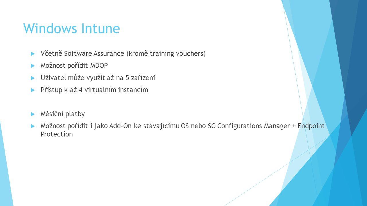 Windows Intune  Včetně Software Assurance (kromě training vouchers)  Možnost pořídit MDOP  Uživatel může využít až na 5 zařízení  Přístup k až 4 virtuálním instancím  Měsíční platby  Možnost pořídit i jako Add-On ke stávajícímu OS nebo SC Configurations Manager + Endpoint Protection