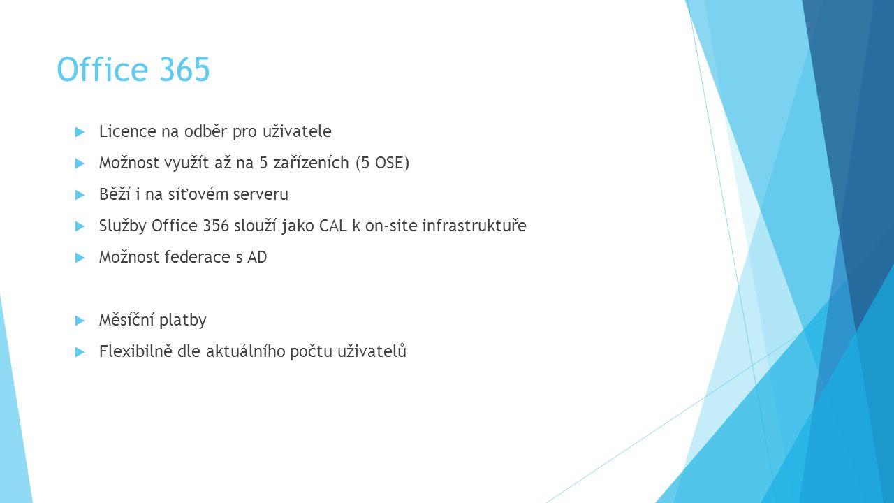  Licence na odběr pro uživatele  Možnost využít až na 5 zařízeních (5 OSE)  Běží i na síťovém serveru  Služby Office 356 slouží jako CAL k on-site infrastruktuře  Možnost federace s AD  Měsíční platby  Flexibilně dle aktuálního počtu uživatelů