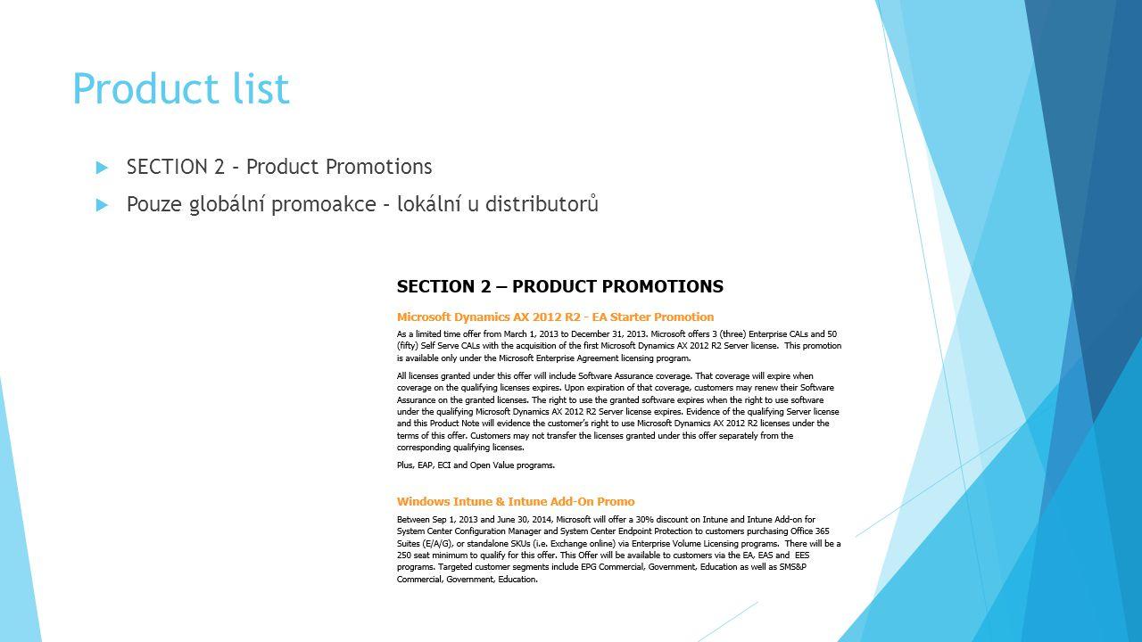 Product list  SECTION 2 – Product Promotions  Pouze globální promoakce – lokální u distributorů